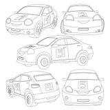 Färgläggningbok för barn med en uppsättning av bilar, medel vektor illustrationer