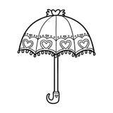 Färgläggningbok för barn, paraply royaltyfri illustrationer