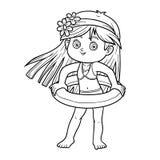 Färgläggningbok för barn strandflicka little stock illustrationer