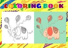 Färgläggningbok för ungar Knapphändig liten rosa elefant Fotografering för Bildbyråer