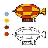 Färgläggningbok för ungar, luftskepp vektor illustrationer
