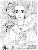 Färgläggningbok för vuxen människa Ung dam med ugglan och apan Arkivbild