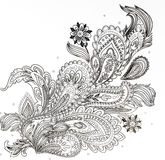 färgläggningbok för vuxna människor, filialen av blommor royaltyfri fotografi