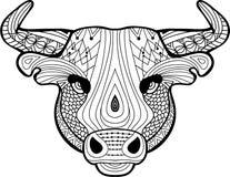 Färgläggningbok för vuxna människor Huvudet av en buffel Fotografering för Bildbyråer
