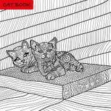 Färgläggningbok för vuxna människor - zentanglekattbok, bläckpenna, svartvit bakgrund, invecklad modell som klottrar Arkivbilder
