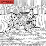 Färgläggningbok för vuxna människor - zentanglekattbok, kattungen på sängen Royaltyfri Fotografi