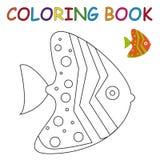 Färgläggningbok - fisk Fotografering för Bildbyråer