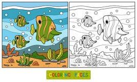 Färgläggningbok (fiskfamiljen) vektor illustrationer