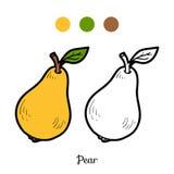 Färgläggningbok: frukter och grönsaker (päron) royaltyfri illustrationer