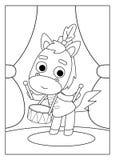Färgläggningbok, häst stock illustrationer