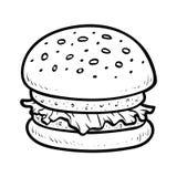 Färgläggningbok, hamburgare stock illustrationer