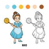 Färgläggningbok, hembiträde stock illustrationer