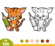 Färgläggningbok, katt med en blyertspenna stock illustrationer