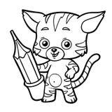 Färgläggningbok, katt med en blyertspenna royaltyfri illustrationer