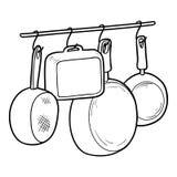 Färgläggningbok, Kitchenware royaltyfri illustrationer