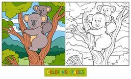 Färgläggningbok (koalan) royaltyfri illustrationer