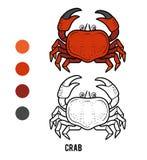 Färgläggningbok, krabba vektor illustrationer