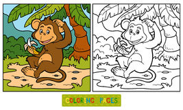 Färgläggningbok: liten apa med en banan stock illustrationer