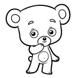 Färgläggningbok, liten björn vektor illustrationer