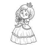 Färgläggningbok, liten prinsessa med en blomma stock illustrationer