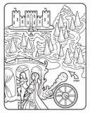 Färgläggningbok Maze Royal Castle Royaltyfri Fotografi