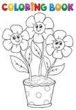 Färgläggningbok med blommatema 5 Arkivfoton