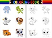 Färgläggningbok med djurtecknad filmsamlingen Royaltyfria Bilder