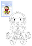 Färgläggningbok med flickan på släden Arkivbild