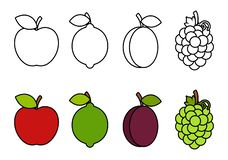 Färgläggningbok med frukter som färgar för ungar royaltyfri illustrationer