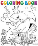 Färgläggningbok med hajen och skatten Arkivbild