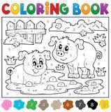 Färgläggningbok med två lyckliga svin Royaltyfri Bild