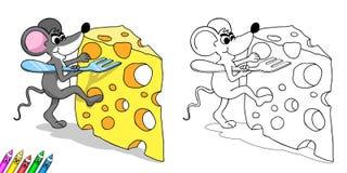 Färgläggningbok - mus med ost Royaltyfria Bilder