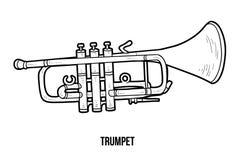 Färgläggningbok: musikinstrument (trumpet) royaltyfri illustrationer