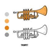 Färgläggningbok: musikinstrument (trumpet) stock illustrationer