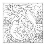 Färgläggningbok (narvalet), akromatisk illustration (bokstav N) Fotografering för Bildbyråer