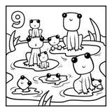 Färgläggningbok, nio grodor royaltyfri illustrationer