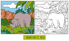 Färgläggningbok (noshörningen) Royaltyfri Fotografi