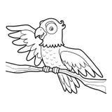 Färgläggningbok, papegoja royaltyfri illustrationer