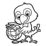 Färgläggningbok, papegoja och jordklot stock illustrationer