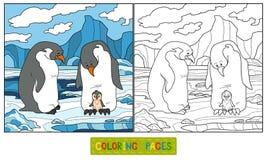 Färgläggningbok (pingvinet) Fotografering för Bildbyråer