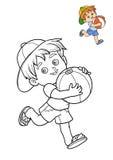 Färgläggningbok, pojke och boll royaltyfri illustrationer