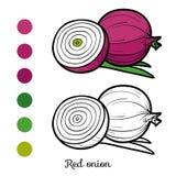 Färgläggningbok, röd lök stock illustrationer
