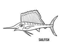 Färgläggningbok, Sailfish royaltyfri illustrationer