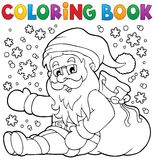 Färgläggningbok Santa Claus i snö 1 vektor illustrationer
