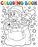 Färgläggningbok Santa Claus i snö 4 royaltyfri illustrationer