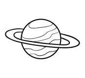 Färgläggningbok, Saturn royaltyfri illustrationer