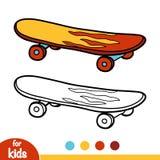 Färgläggningbok, skateboard royaltyfri illustrationer