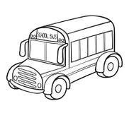 Färgläggningbok, skolbuss stock illustrationer