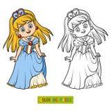 Färgläggningbok, tecknad filmtecken, prinsessa royaltyfri illustrationer
