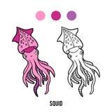 Färgläggningbok, tioarmad bläckfisk vektor illustrationer